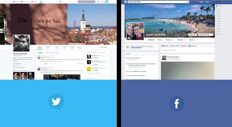 Twitter and Facebook Profile Pages